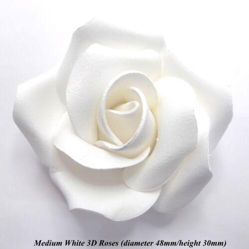1 3 6 o 12 Medio Blanco 3D Rosas De Azúcar Pastel De Bodas Decoración 45mm no con cable