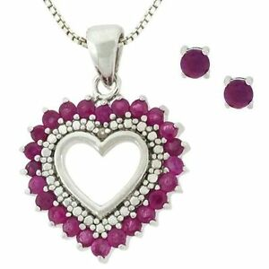 Ruby-Diamond-Heart-Necklace-Stud-Earring-Jewelry-Set-14k-white-gold-over-925-SS