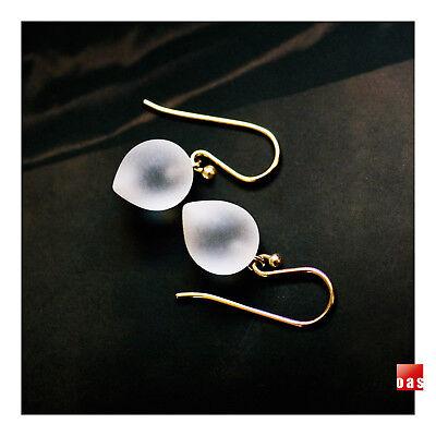 Solid Gold Clear Quartz Earrings 14K Quartz Earrings 18K Quartz Earrings Gold Leverback Earrings Solid Gold Earrings Bridal Earrings