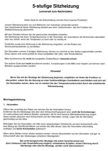 E83 Profi Carbon Sitzheizung Heizmatten Auflage Nachrüsten 5 stufig; BMW X3