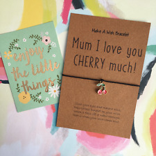 Wish Bracelet / Charm Bracelet - Mum I Love You Cherry Much! Mother's Day Gift