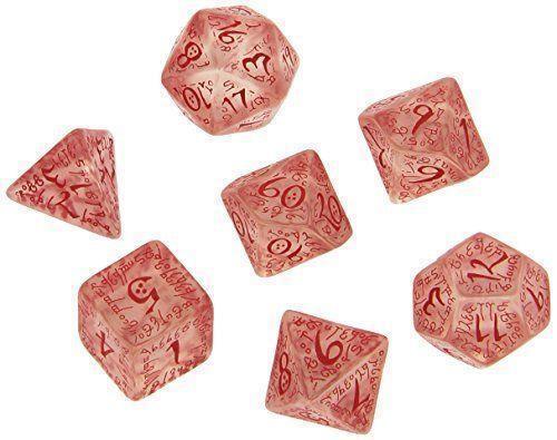 Q-Workshop Polyhedral 7-Die Carved Elvish 7 Dice Set Transparent//Red QWS SELV09
