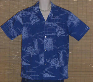 HOWIE-Hawaiian-Shirt-Blue-Islands-Maps-Sailing-Charts-Size-Large-NWOT