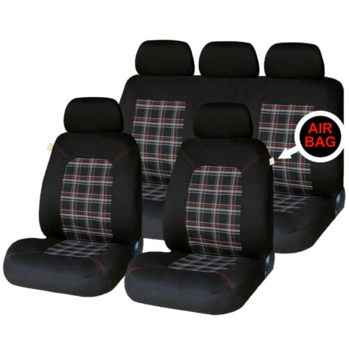 Universal Car Lambeth Tartan Checked Seat Covers Washable Airbag Safe 8 Piece Se