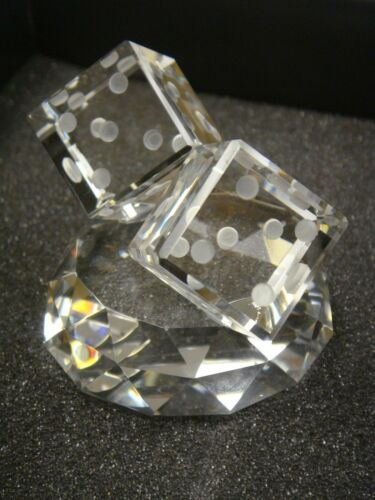 with Giftbox Vintage Glass Big Dice On Pedestal Paperweight Made in Turkey