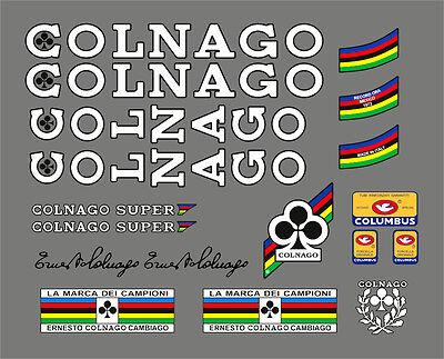 COLNAGO SUPER 1979 FRAME DECAL SET BLACK//YELLOW OUTLINE