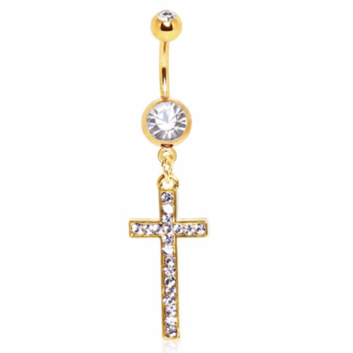 Gold Plated Cross Dangle with CZ Navel Ring Default Title, Gold//Silver