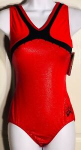 ALY-RAISMAN-RED-SLITHER-FOIL-ADULT-LARGE-BLACK-JA-GK-GYMNASTICS-TANK-LEOTARD-AL