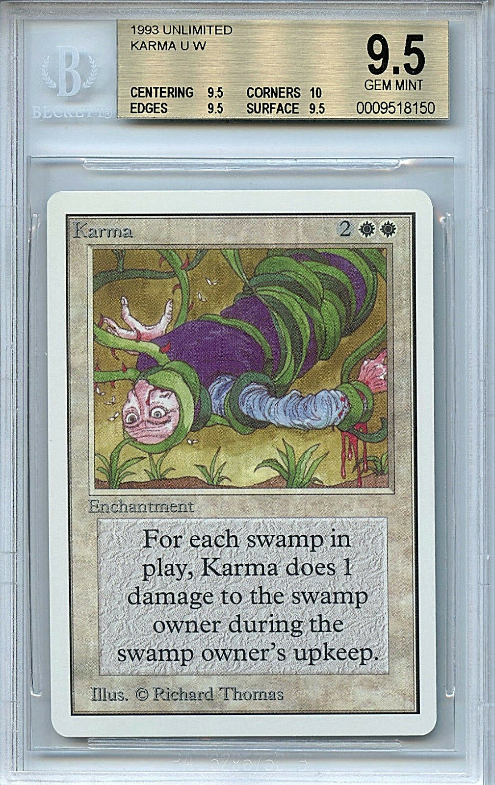 MTG Unlimited Karma BGS 9.5 Gem Mint Magic The The The Gathering WOTC 8150 5e3388