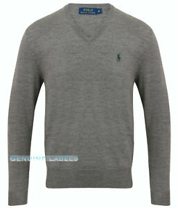 12ba2ad75c34 Ralph Lauren Polo Mens Grey V Neck Merino Wool Jumper M-XXL RRP £125 ...