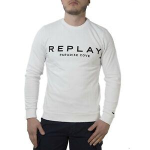 Replay-Felpa-Maglia-Uomo-Col-Bianco-tg-varie-NUOVA-COLLEZIONE-S-S-19