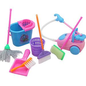 9x-Infantil-para-Ninos-Limpieza-Barrido-de-Set-de-Juego-Fregona-Escoba-Cepillo