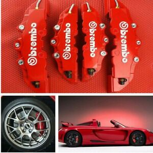 2Pairs-3D-Style-Car-Universal-Red-Disc-Brake-Caliper-Covers-Front-amp-Rear-Kit-New