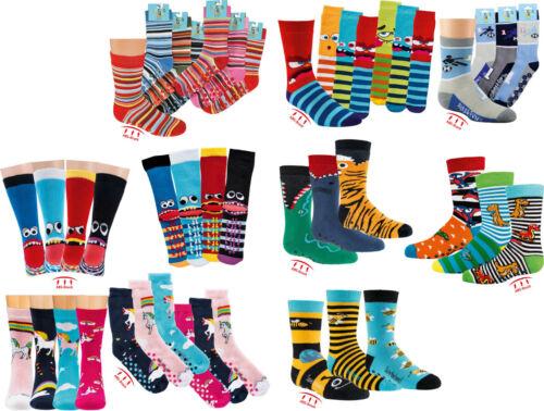 Kinder ABS Frottesocken 3 Paar Socken Motiv Vielfalt VollFrottee Kindersocken