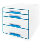 Leitz Schubladenbox WOW Cube 4 Schübe Perlweiß/blau