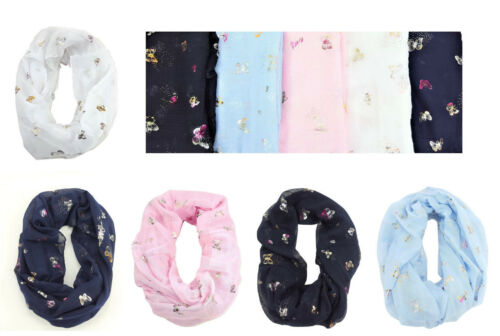 Scarf Circle Loop Snood Scarves New Spring Summer Glitter Butterfly pattern