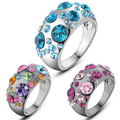 Multi color vintage style crystal cocktail ring party jewelry R827 R828 R872