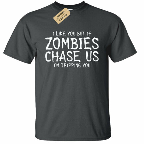 KIDS BOYS GIRLS If Zombies Chase Us T-Shirt funny friends gift friendship joke