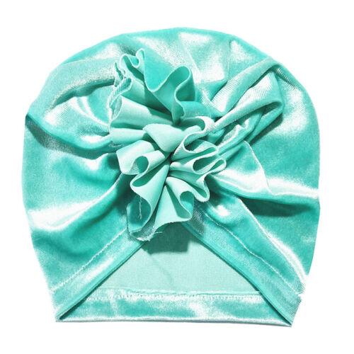 Newborn Toddler Kids Turban Cotton Baby Ruffle Knot Beanie Hat Velvet Kawaii Cap
