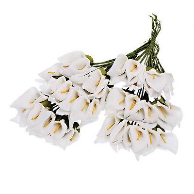 144 Künstliche Blumen Dekoblumen Weiß Kalla Blumenstrauß Hochzeit Haus Deko