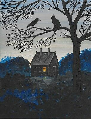 5x7 PRINT OF PAINTING RYTA RAVEN CROW GOTHIC WITCH HALLOWEEN FOLK ART LOWBROW