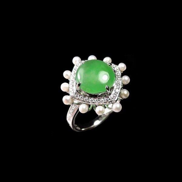 【KOOJADE】Icy Emerald With Green Jadeite Jade Ring《US SIZE 6》