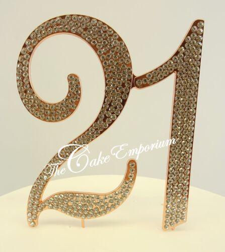 XL Large Diamante Rhinestone Birthday Number 18 21 Rose Gold Cake Topper Sets
