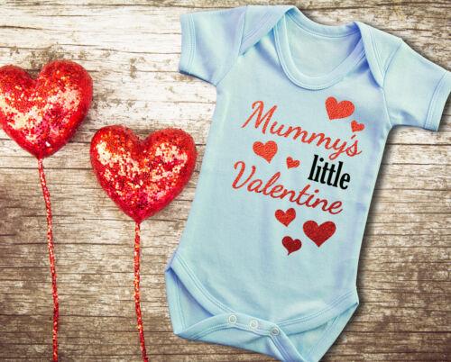 Baby/'s Valentine/'s day Mummy/'s little Valentine blue bodysuit  baby grow