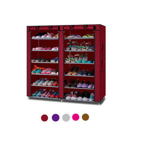 Image Is Loading 6 Tier 2 Rows Doors Large Shoe Cabinet