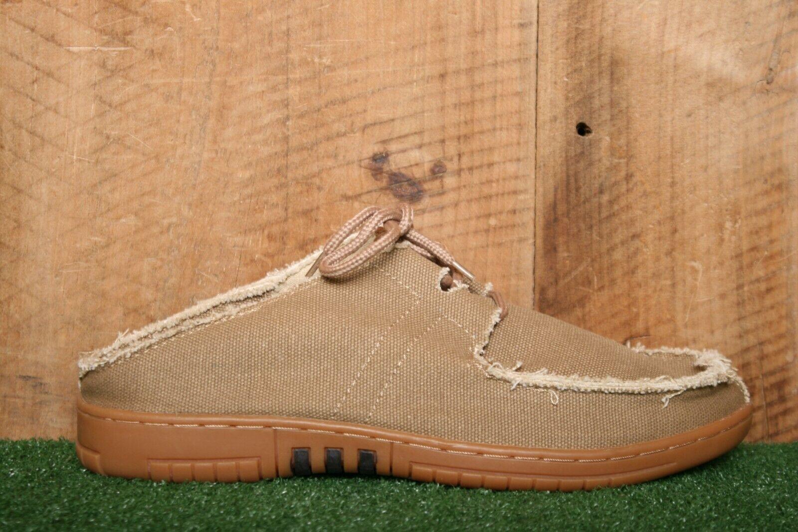 OLD FRIEND 'Jake' Khaki Canvas Slip-On Peace Moccasins Sipper Shoe Men's Sz. 8.5