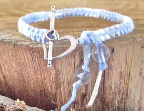 Chiné bleu Blanc fermoir Coeur fabrication artisanale France Bracelet Macramé