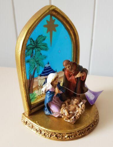 MARY//JOSPEH//JESUS 10.5cm STAR AND SKY BACKGROUND RELIGIOUS NATIVITY ORNAMENT