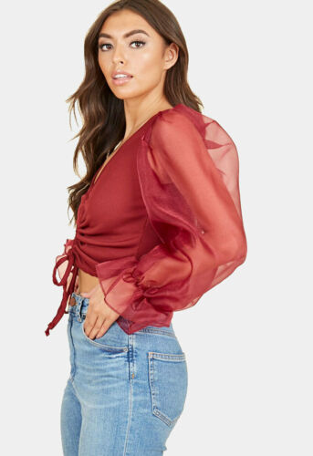 Womens Wine Ribbed Drawstring Ruched Cropped Top With Organza Balloon Sleeves