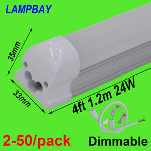 2-50-pack-Dimmable-LED-Tube-Light-4ft-1-2m-20W-24W-Bulb-Integrated-Lamp-Fixture