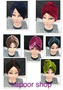 VELVET-TURBAN-STYLE-Head-Wrap-Hat-Bandana-Scarf-Hair-LOSS-Vintage