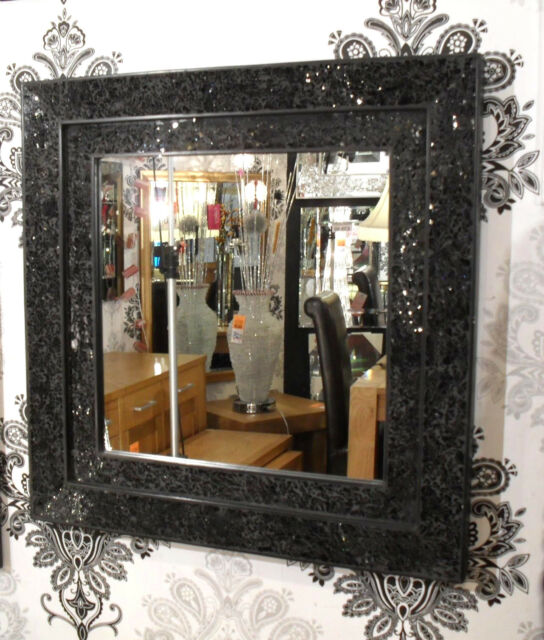 Crackle Glass Black Mosaic Wall Mirror Square Double Frame Handmade 68X68cm New