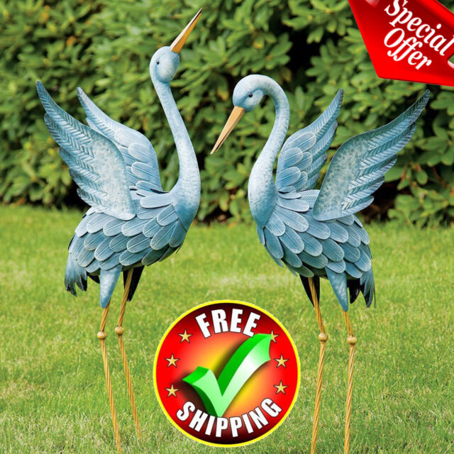 Statues Lawn Ornaments Heron Metal, Outdoor Bird Statues