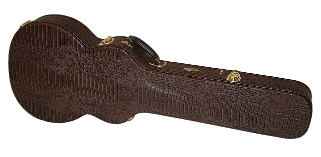 Hochwertiger Archtop Holz Formkoffer für E- Gitarre Les Paul Style Kroko Look