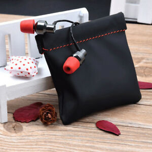 portable earphone case pu leather storage bags headsets headphone carrying pouch