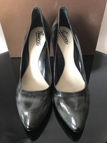 Grey Toe Black Stiletto Pointy 41 Colour Shoes Potent Gucci Leather Heel n1Xqqg8