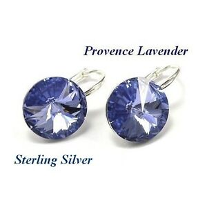 Details About Sterling Silver Rivoli Provence Lavender Earrings Made With Swarovski Crystals