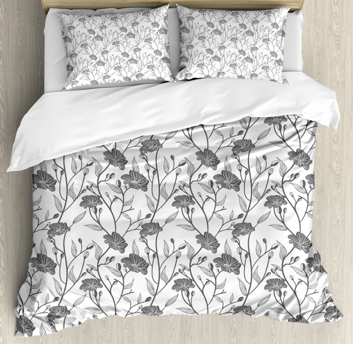 grigio Duvet Cover Set with Pillow Shams Blooming Flowers Buds Art Print