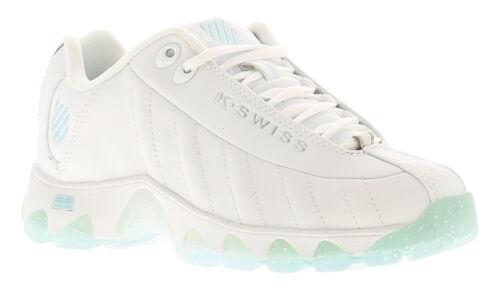 K-Swiss St329 SB Chaussures femme en cuir avec Baskets Blanc//Cristal Bleu//Gris Taille UK