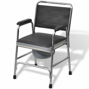 vidaXL Toilettenstuhl Feststehend PU Stahl 100kg Nachtstuhl WC Stuhl Rollstuhl~