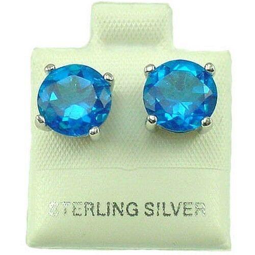 zircon Sterling Silver clous d/'oreilles 9 mm RD Bleu Zircon SE228
