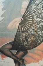 """""""PIN-UP à l'EVENTAIL""""Affiche originale entoilée Offset Roger BRARD 50-51 34x51cm"""