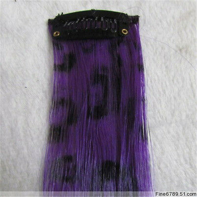 "18"" Synthetic Fiber Feather Leopard Print Hair Extensions Clips 5g/Strand"