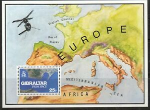 GIBRALTAR-1978-GIBRALTAR-FROM-SPACE-MINIATURE-SHEET-MOUNTED-MINT