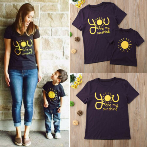 USA Family Matching Outfits T-shirt you are sunshine Mommy Son Kids Top T-Shirt