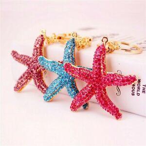 Crystal-Rhinestones-Starfish-Key-Rings-Cute-Handbag-Purse-Pendant-Keychain-Gift